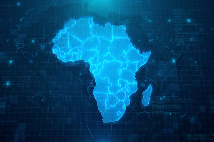 Map of Africa with Countries on blue digital background